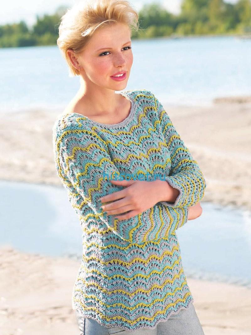 Вязание пуловера волнистым узором
