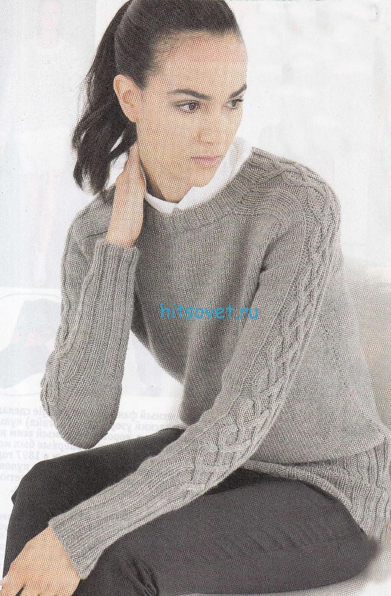 Вязание пуловера с плетеным узором, фото.