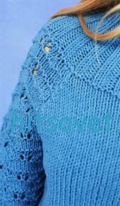 Вязание пуловера с воротником кокеткой, фото 3.