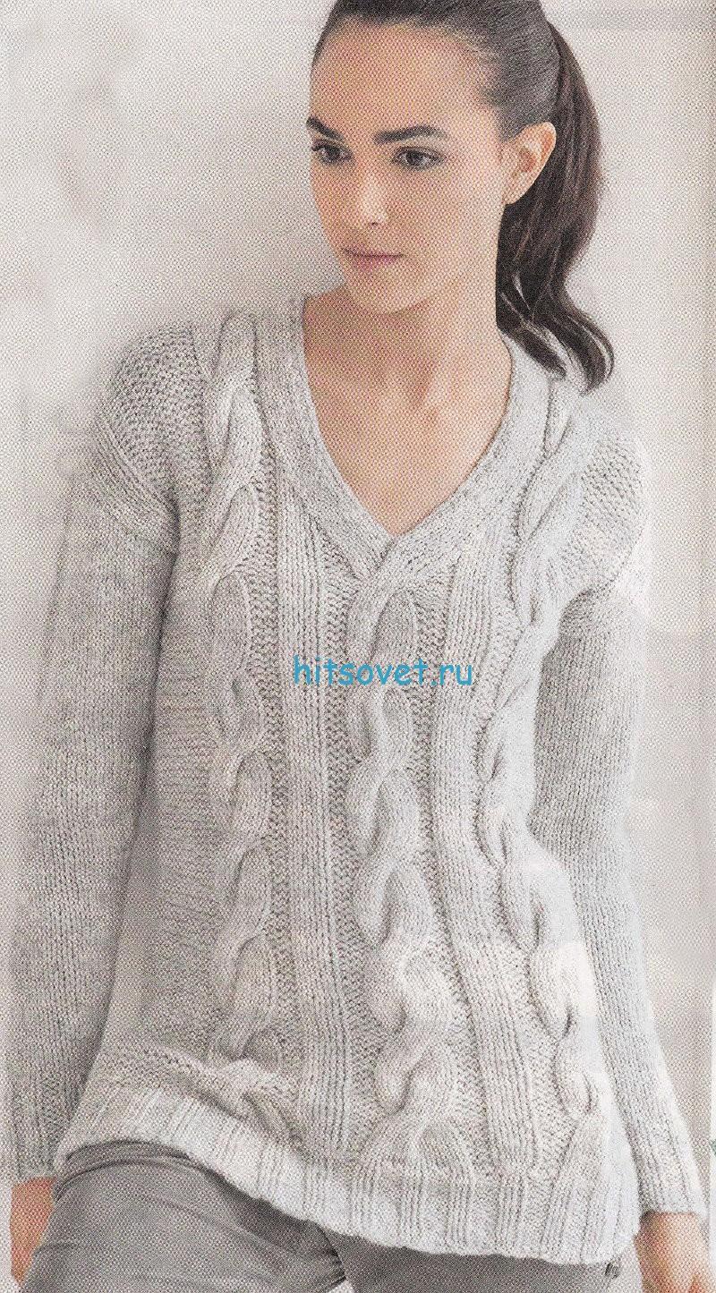Вязание пуловера с косами с описанием, фото.