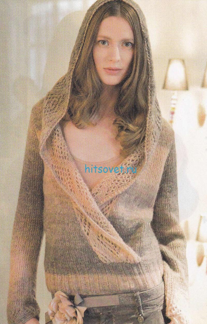 Вязание пуловера с капюшоном для девушки, фото.