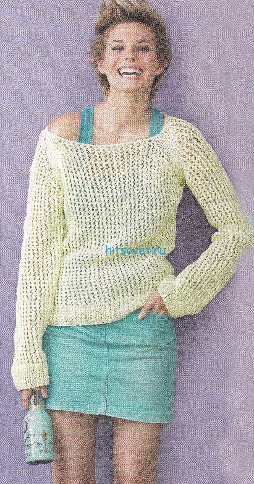 Сетчатый пуловер с широкой горловиной