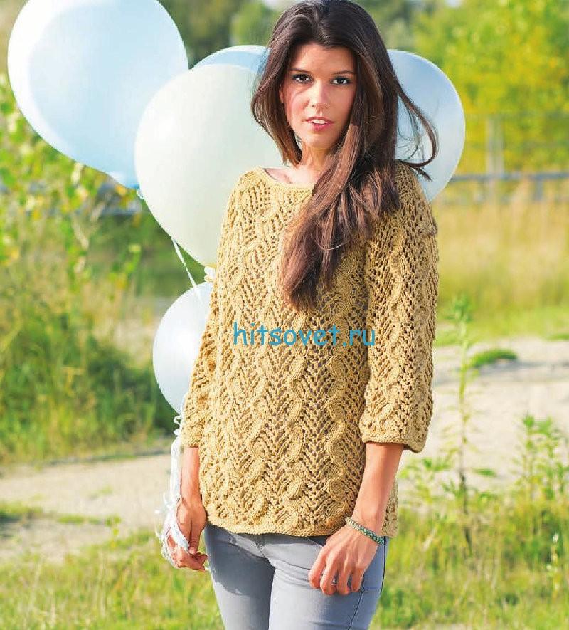 Ажурный пуловер с косами описание и схема