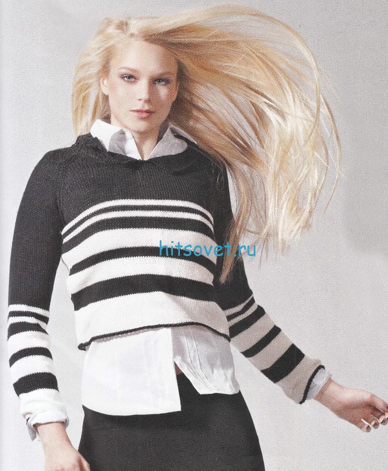 Вязание полосатого пуловера, фото.