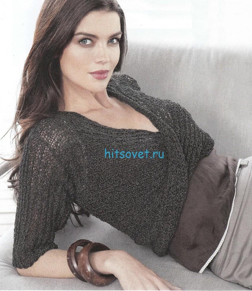 Вязание женского пуловера с перекрученным передом