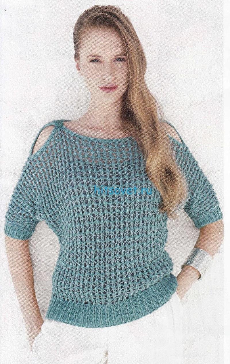 Вязаный пуловер сетка, фото.
