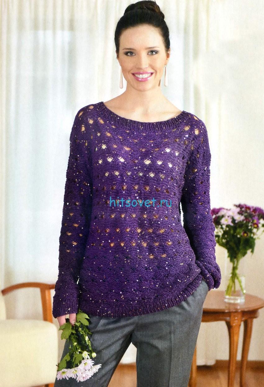 Вязание пуловера с дырочками, фото.