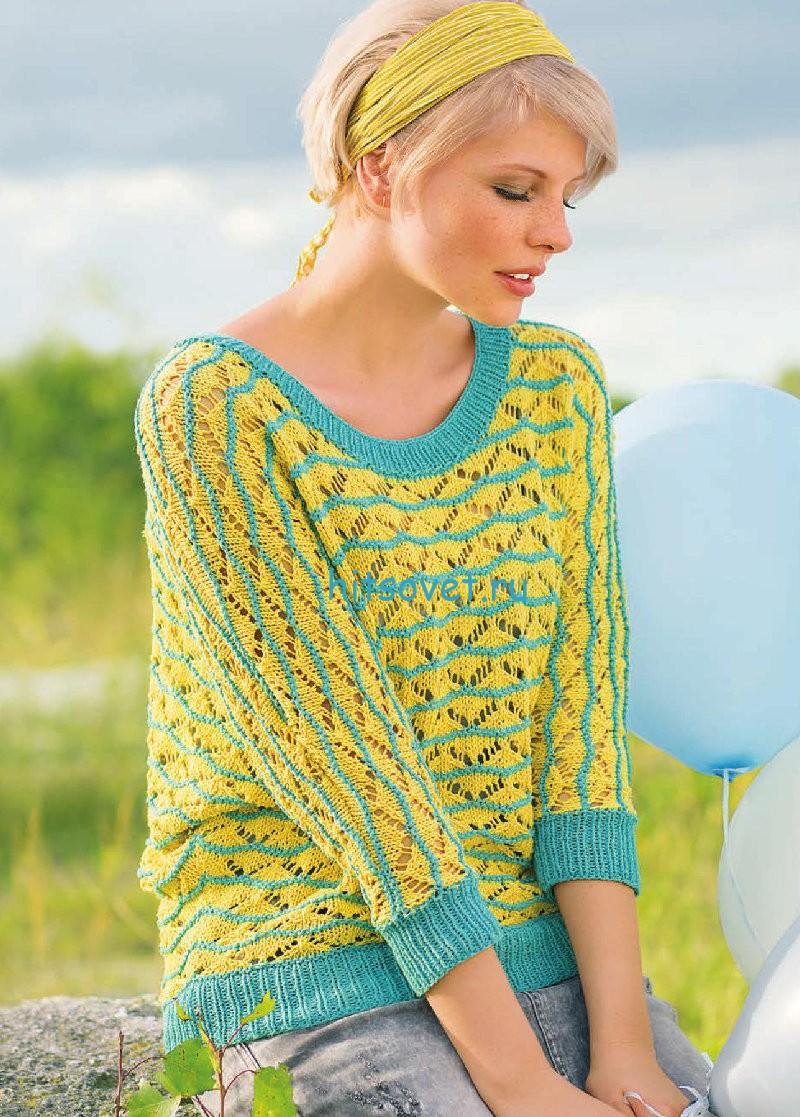 Вязание пуловера с ажурными зигзагами