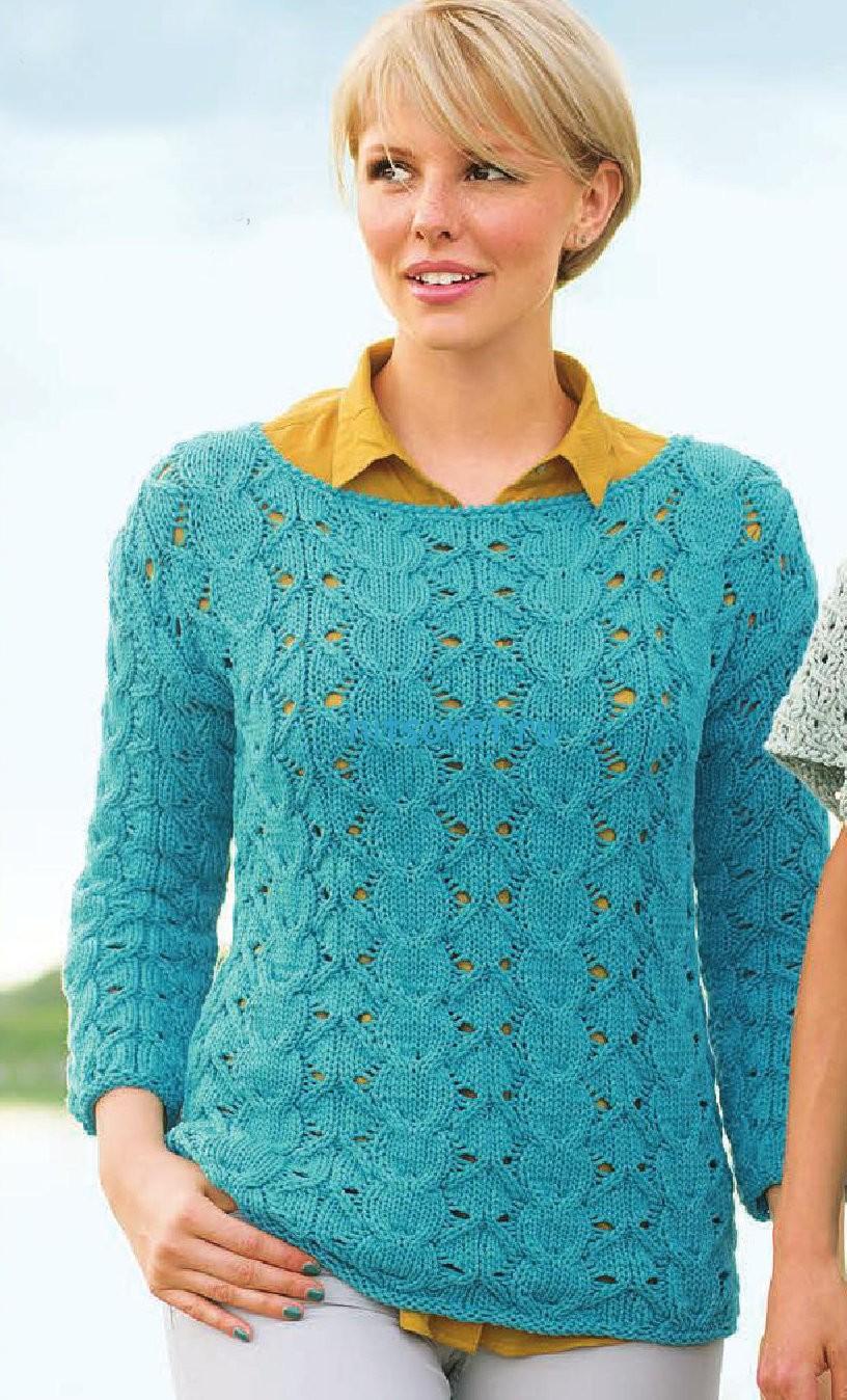 Пуловер с косами и ажурным узором, фото.