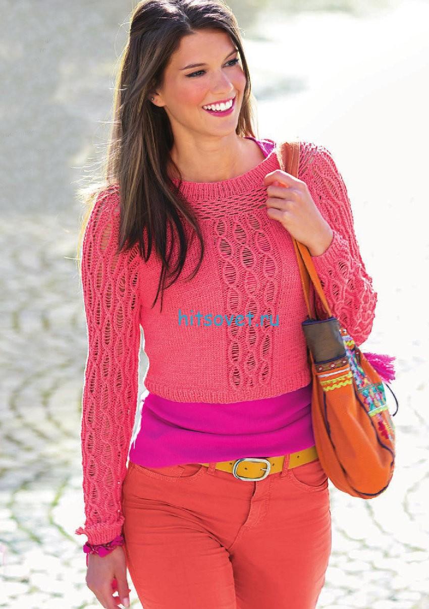 Короткий розовый пуловер