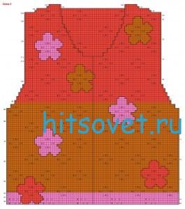 Вязание жакета с ажурными цветами, схема 2.