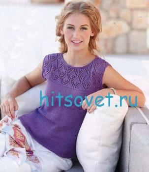 Фиолетовая летняя кофточка спицами