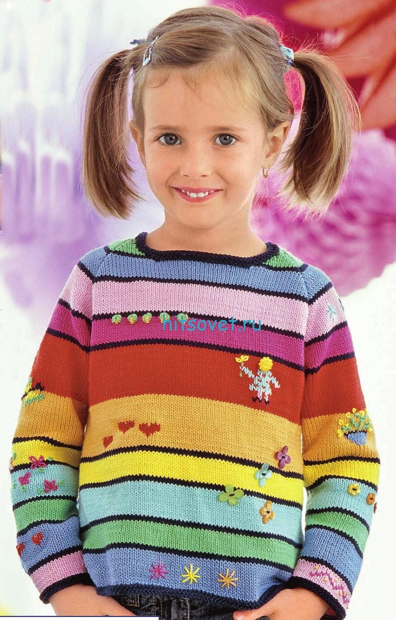 Вязание спицами для детей пуловер и шапка