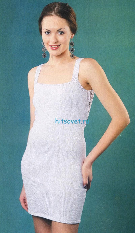 Вязаное платье с сеткой на спинке