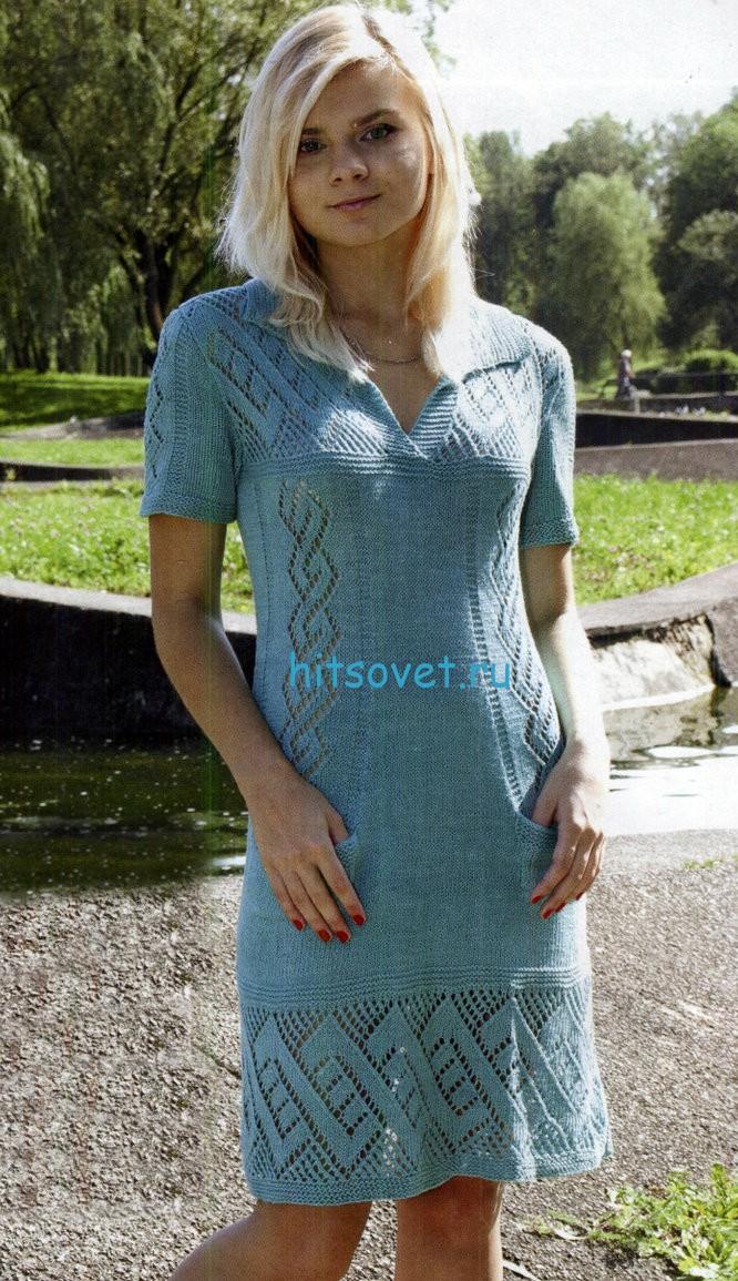 Вязаное платье с врезными карманами