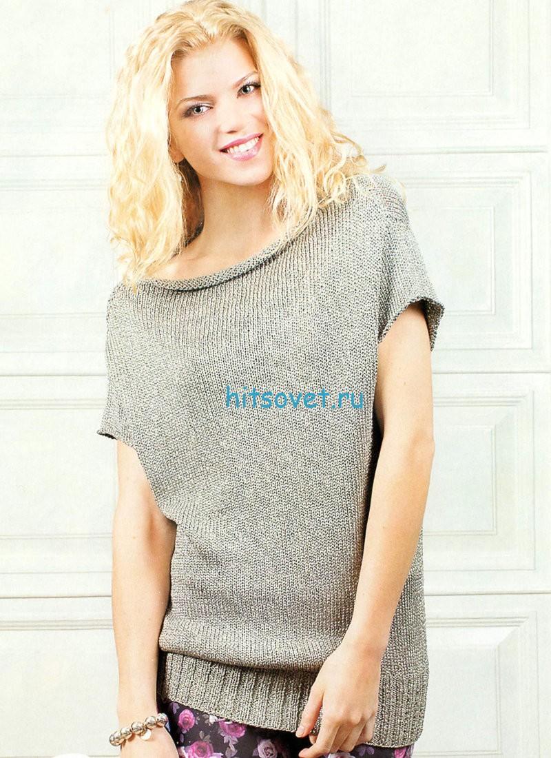 Вязание свободного пуловера с короткими рукавами, фото.