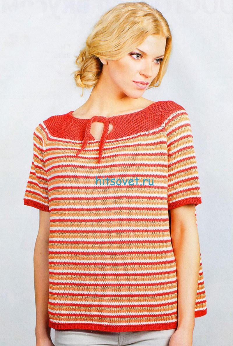 Свободный полосатый пуловер спицами, фото.