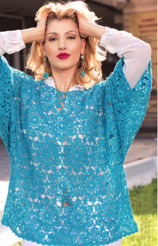 Вязание женского голубого пуловера