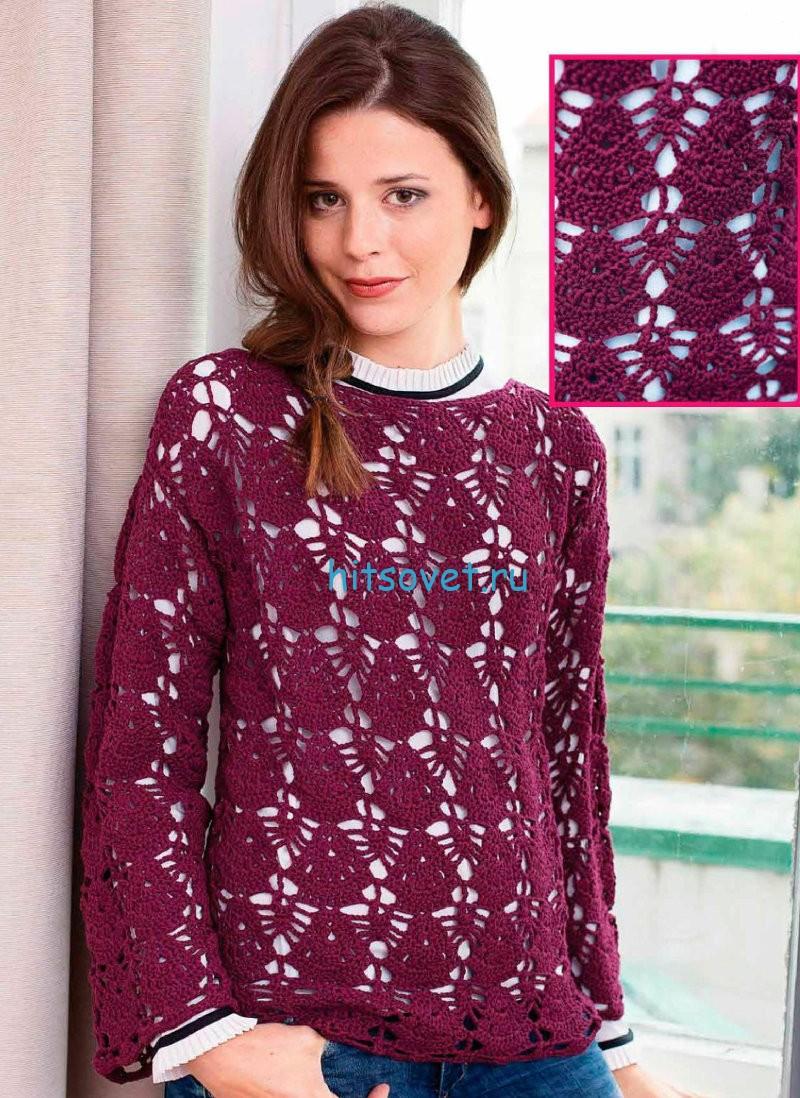 Вязаный пуловер крючком схема