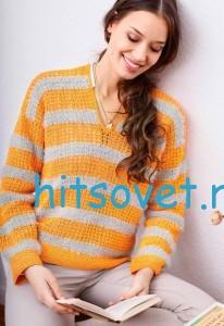 Вязание пуловера крючком в полоску