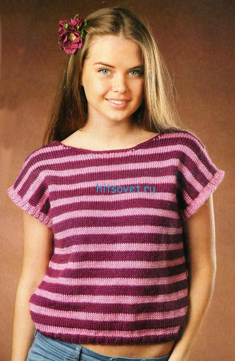 Полосатый летний пуловер с описанием, фото 1.
