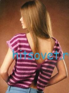 Полосатый летний пуловер с описанием, фото 2.