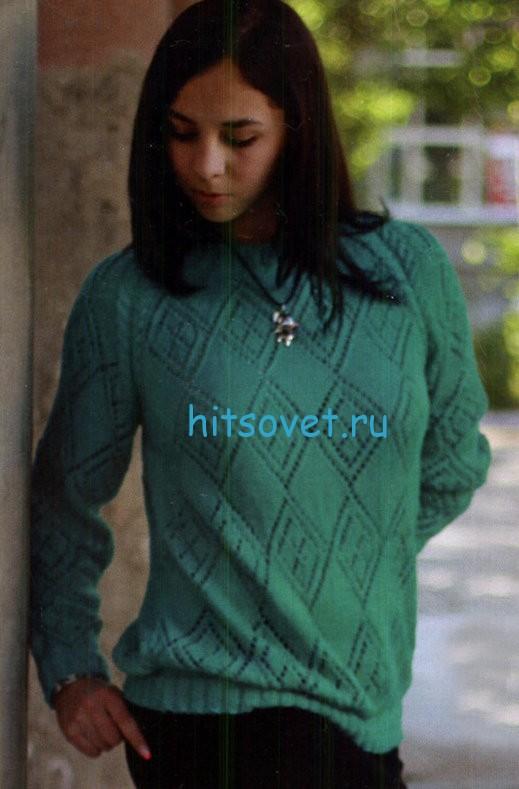 Вязаный пуловер реглан с описанием вязания, фото 1.