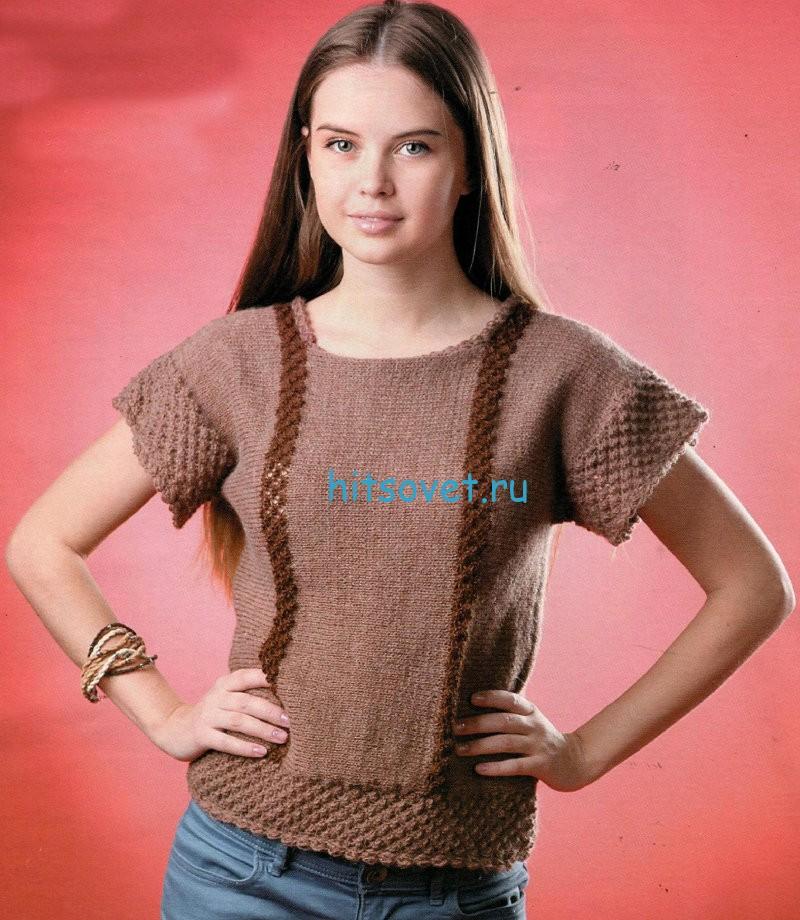 Женский вязаный пуловер с бесплатным описанием