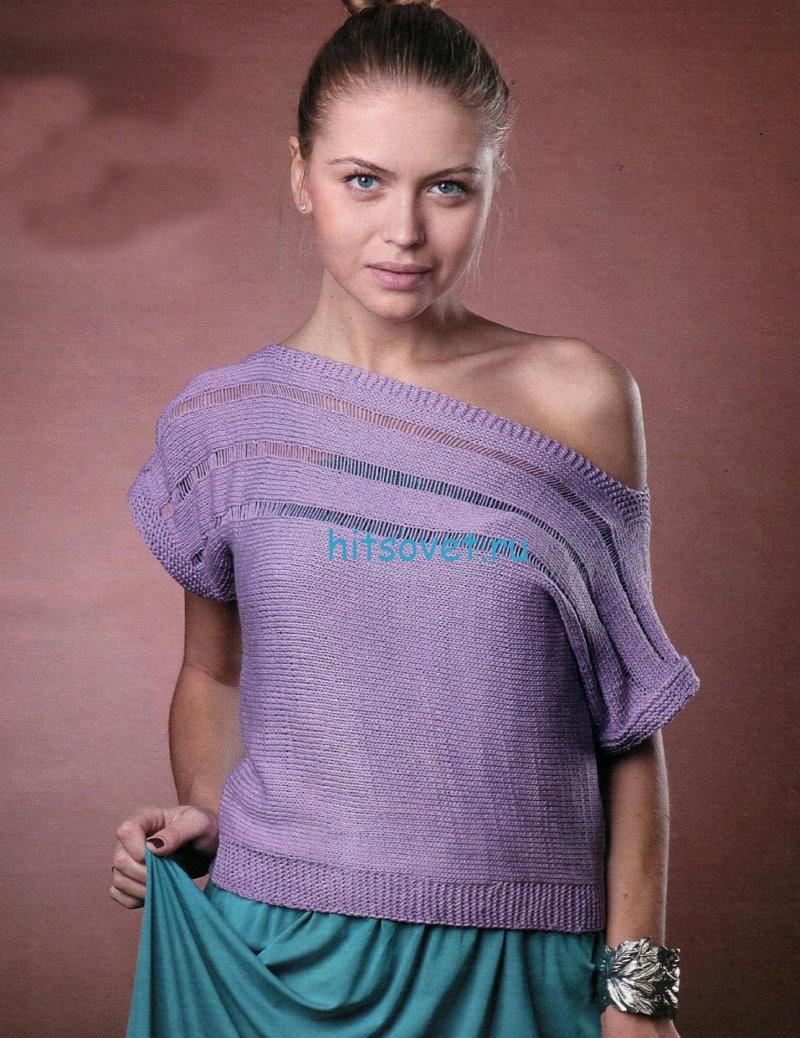 Вязание пуловера с широкой горловиной