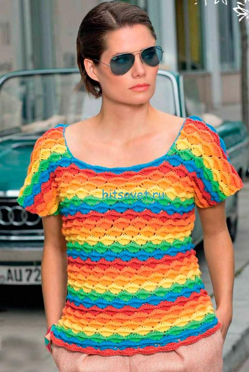 Разноцветный пуловер крючком