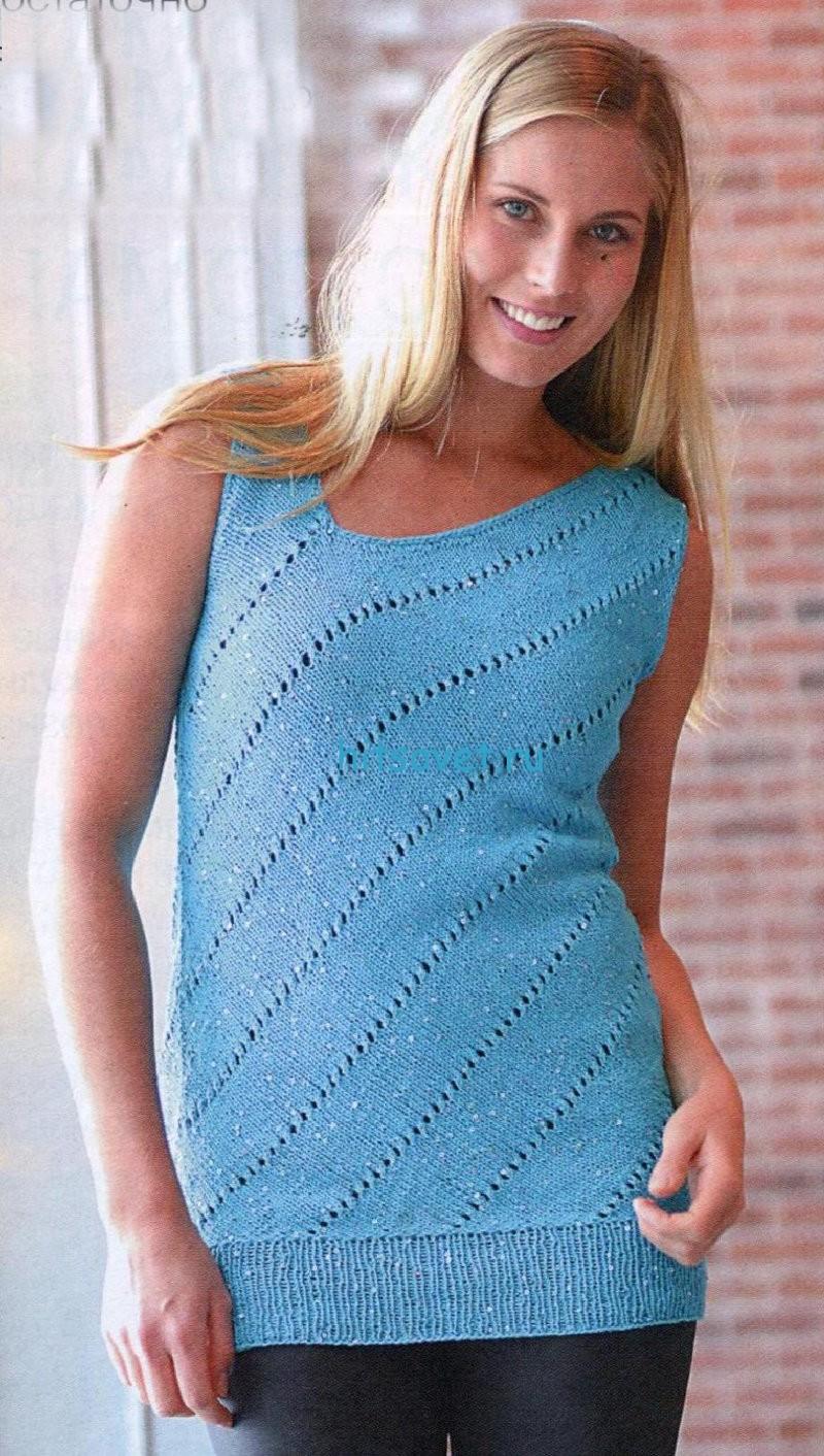 Вязание туники бирюзового цвета. фото.