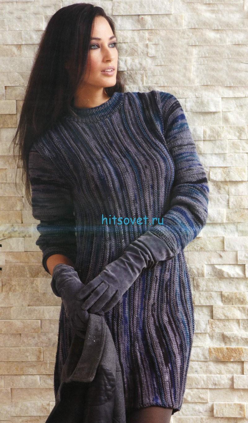 Платье спицами с длинными рукавами