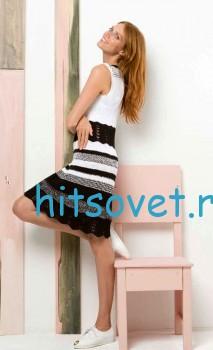 Черно-белое узорчатое платье спицами