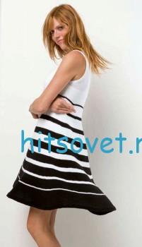 Черно-белое платье спицами