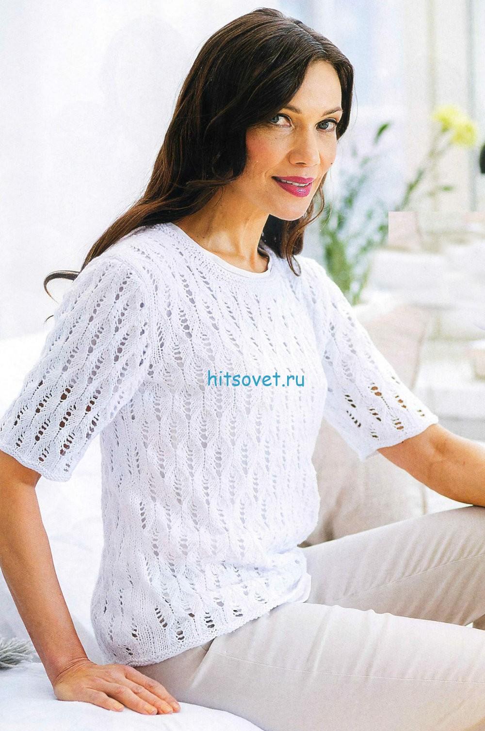 Белый пуловер женский с ажурным узором, фото.