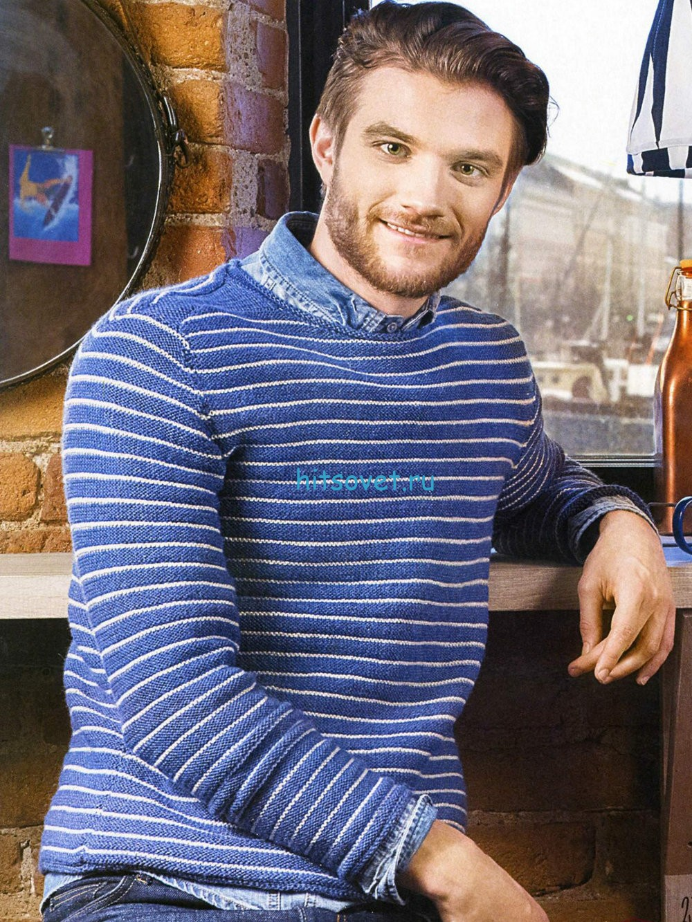 Полосатый мужской пуловер спицами