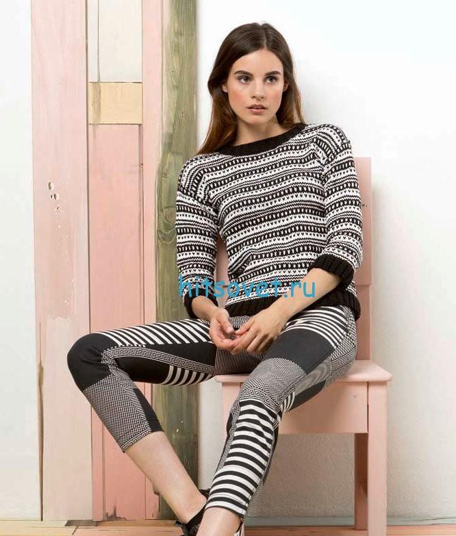 Жаккардовый пуловер спицами женский