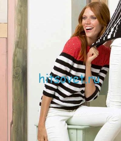 Пуловер женский из хлопковой пряжи