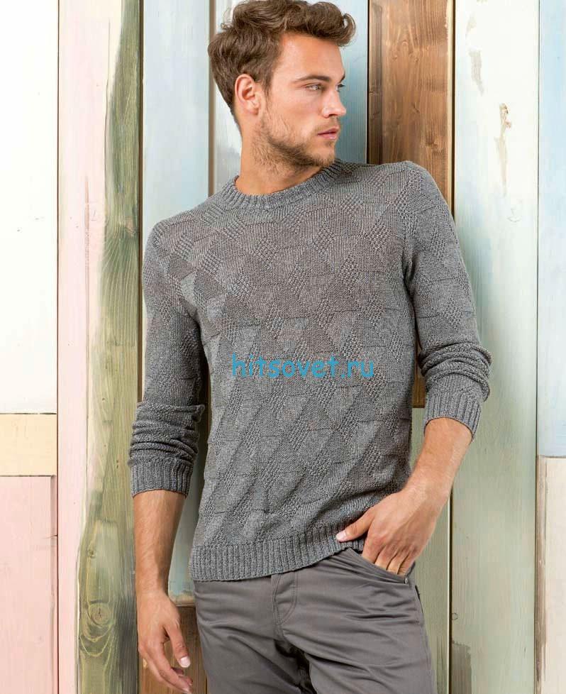 Мужской пуловер спицами серого цвета