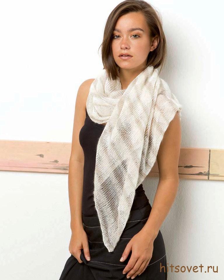 Вязание шали спицами для начинающих.