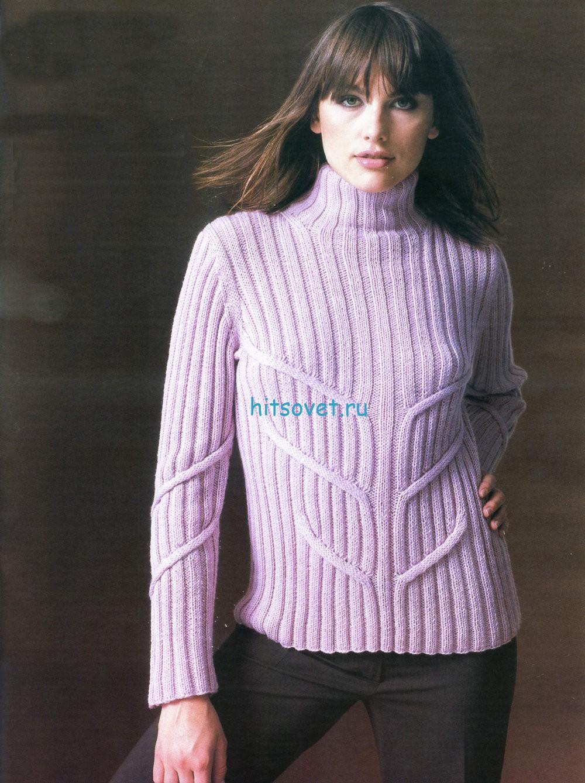 Розовый свитер женский спицами