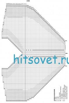 Летний топ спицами платочной вязкой, схема.