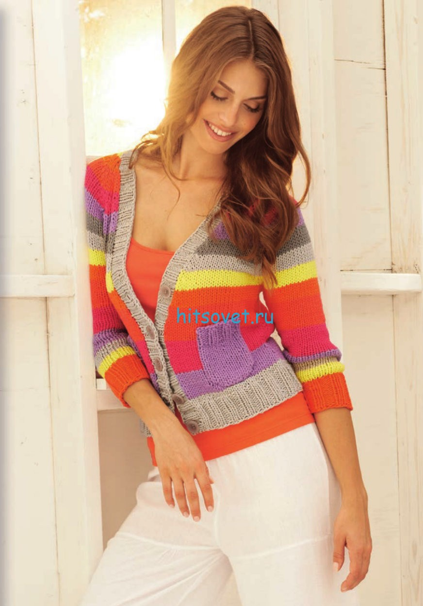Разноцветный жакет спицами для женщин