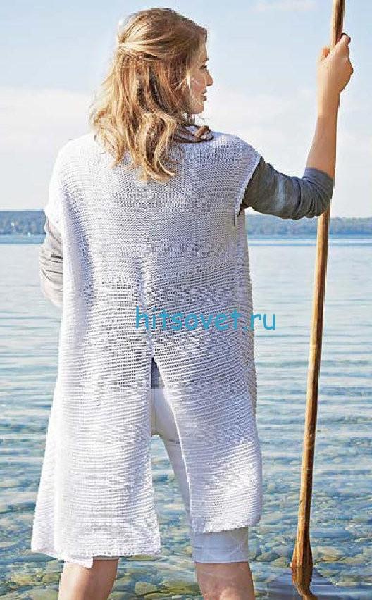 Белый жилет спицами для женщин, фото 2.
