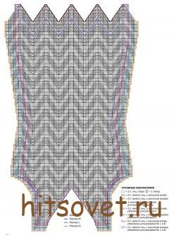 Вязание платья кремового цвета, схема.