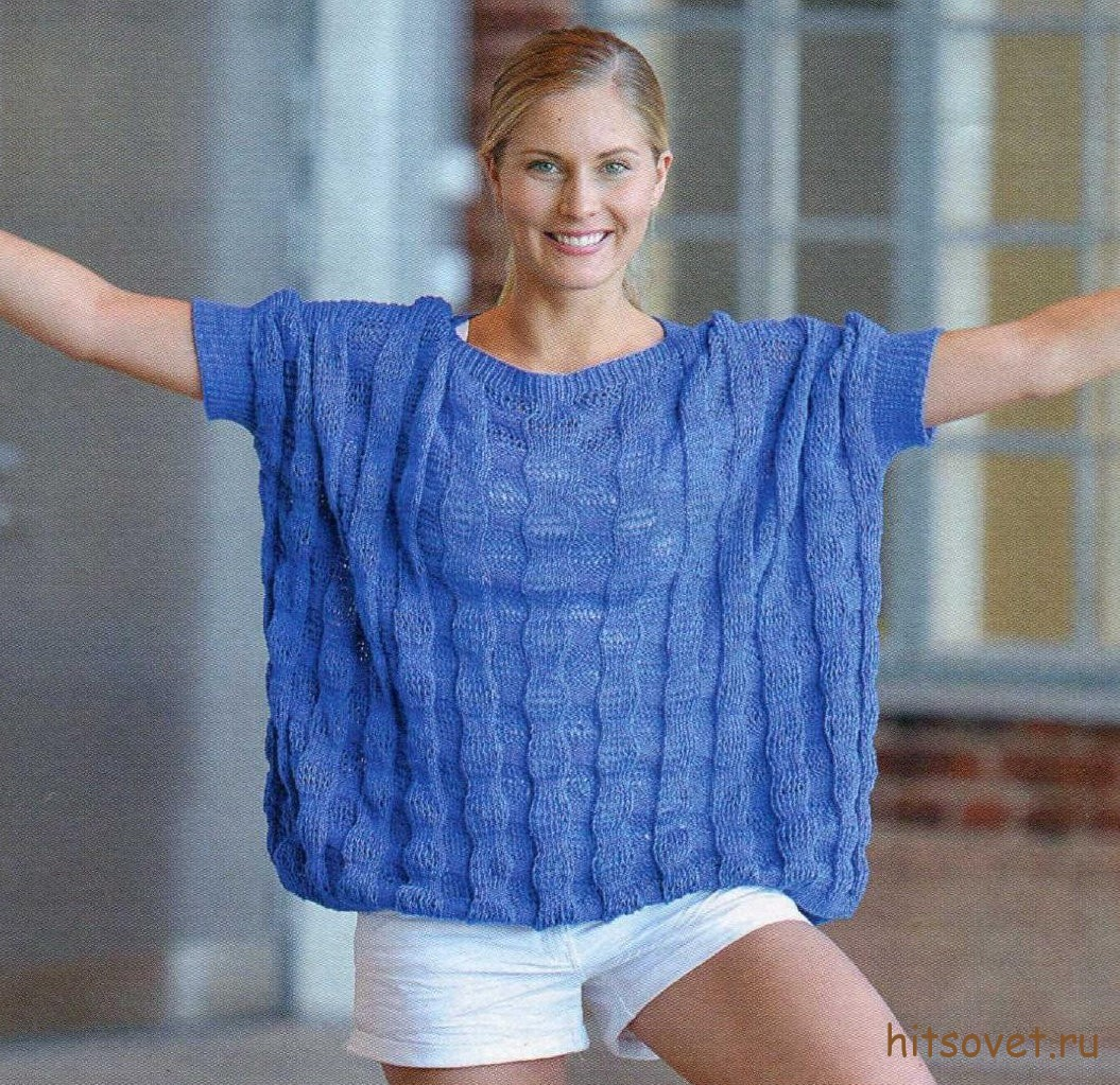 Широкий пуловер спицами женский, фото.