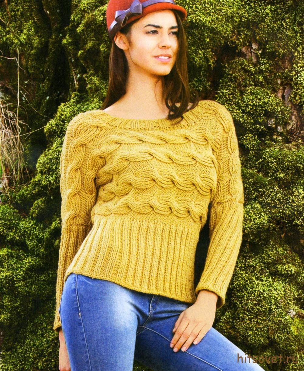 Пуловер женский связанный поперек, фото.