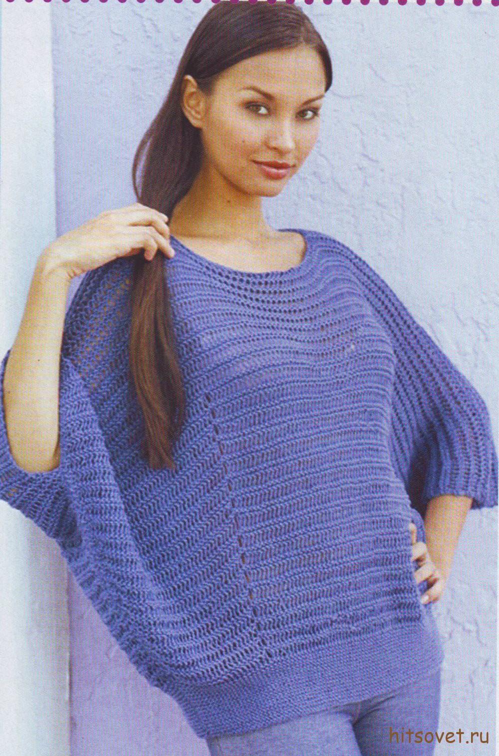 Свободный пуловер спицами женский