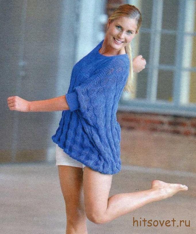 Широкий пуловер спицами женский, фото 2.