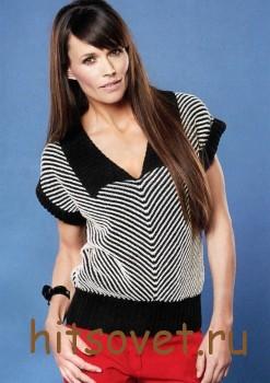 Пуловер женский с диагональными полосами, фото 2.